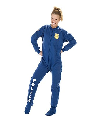 Blue 'Police' Footie Pajamas - Adult