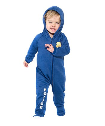Blue 'Police' Hooded Footie - Infant