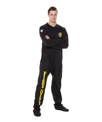 Black 'Fire Dept' Footie Pajamas - Adult