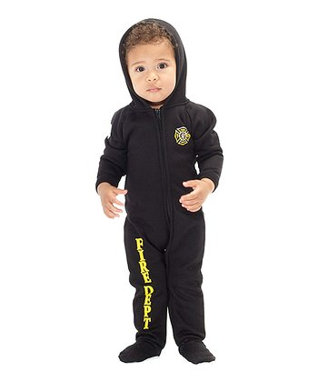 Black 'Fire Dept' Hooded Footie - Infant