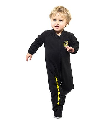 Black 'Fire Dept' Footie - Infant