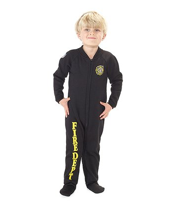 Black 'Fire Dept' Footie - Toddler