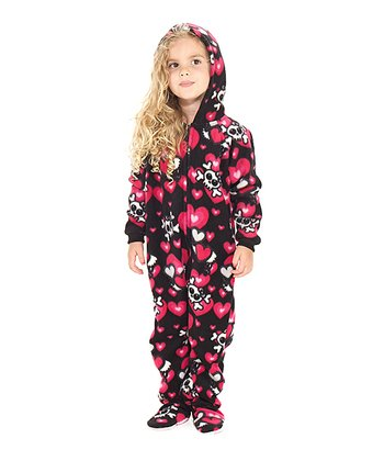 Black Hearts & Skulls Hooded Footie - Toddler