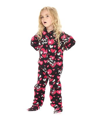 Black Hearts & Skulls Fleece Footie - Toddler