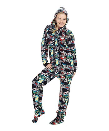 Black Inked Hooded Footie Pajamas - Adult
