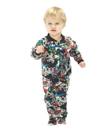 Black Inked Fleece Footie - Infant