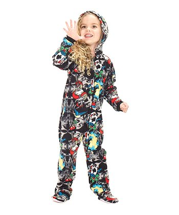 Black Inked Hooded Footie - Toddler