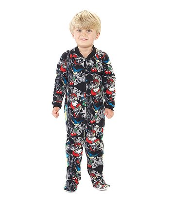 Black Inked Fleece Footie - Toddler