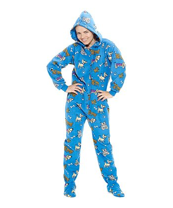 Blue Doggie Dream Hooded Footie Pajamas - Adult