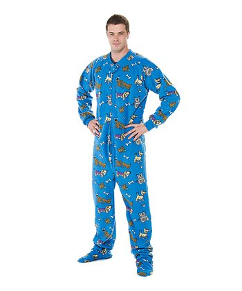 Blue Doggie Dream Fleece Footie Pajamas - Adult