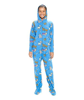 Blue Doggie Dream Hooded Footie - Kids