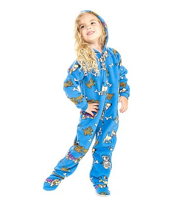 Blue Doggie Dream Hooded Footie - Toddler