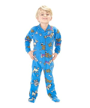 Blue Doggie Dream Fleece Footie - Toddler