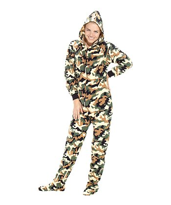 Green Camoforce Hooded Footed Pajamas - Adults