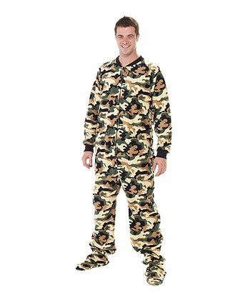 Green Camoforce Fleece Footed Pajamas - Adults