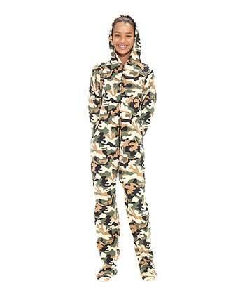 Green Camoforce Hooded Footie - Kids