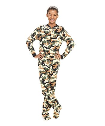 Green Camoforce Fleece Footie - Kids