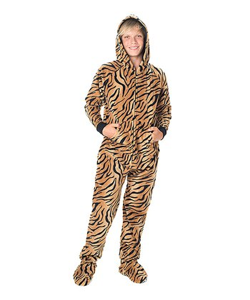 Orange Tiger Stripe Hooded Footie - Kids