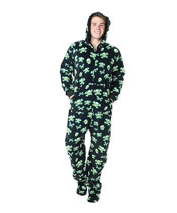 Black Jolly Roger Hooded Footie Pajamas - Adult