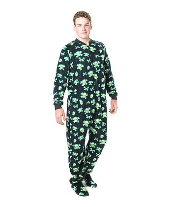Black Jolly Roger Fleece Footie Pajamas - Adult