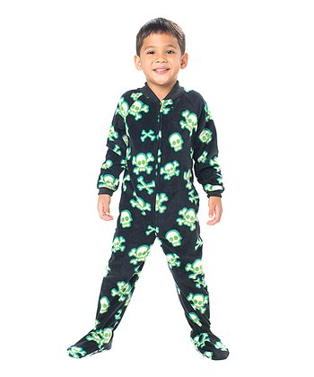 Black Jolly Roger Fleece Footie - Toddler