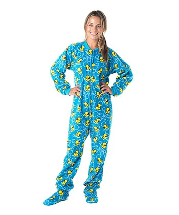 Blue Splish Splash Fleece Footie Pajamas - Adults
