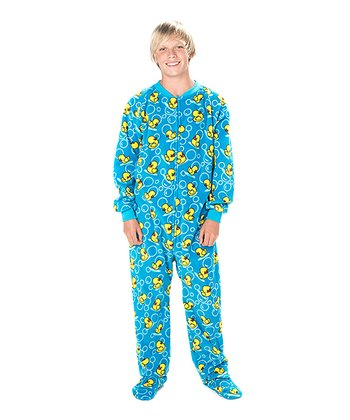 Blue Splish Splash Fleece Footie - Kids