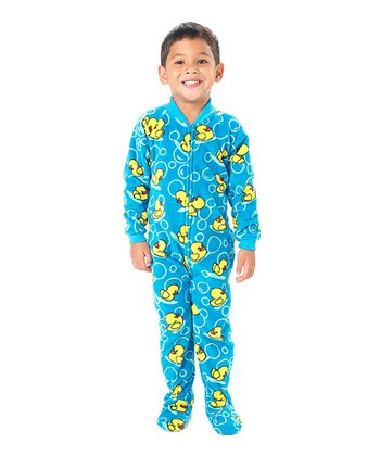 Blue Splish Splash Fleece Footie - Toddler