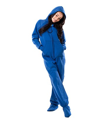 Blue Marina Hooded Footie Pajamas - Adult