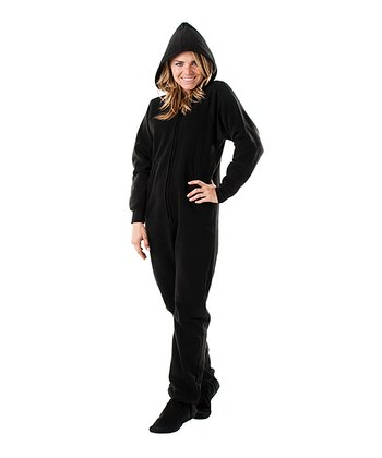 Pitch Black Hooded Footie Pajamas - Adult