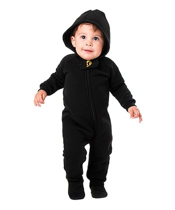 Pitch Black Hooded Footie - Infant