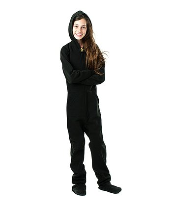 Pitch Black Hooded Footie - Kids