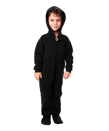 Pitch Black Hooded Footie - Toddler