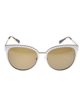White & Gold Stud Sunglasses