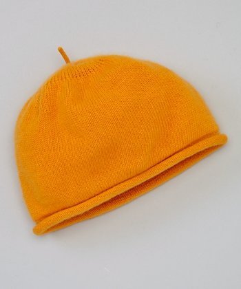 Flame Orange Rolled Edge Cashmere Beanie