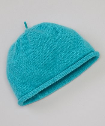 Lake Blue Rolled Edge Cashmere Beanie