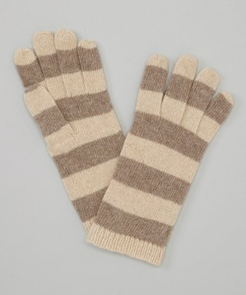 Beige & Natural Brown Stripe Cashmere Gloves