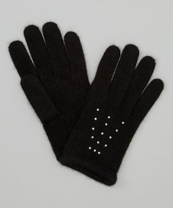 Black Rhinestone Cashmere Gloves