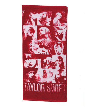 White & Red Faces of Taylor Beach Towel