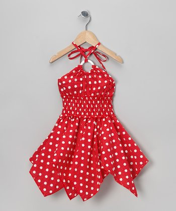 Red Polka Dot Handkerchief Dress - Toddler & Girls