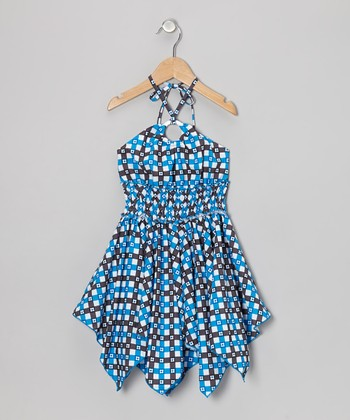 Blue Flower Plaid Handkerchief Dress - Toddler & Girls