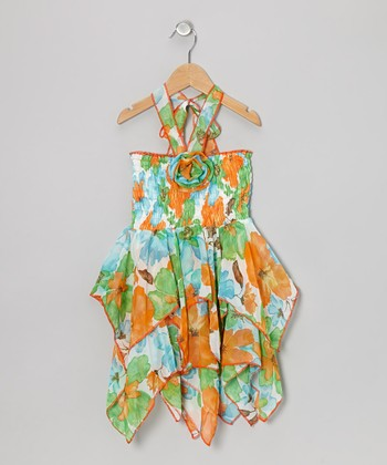 Orange & Green Floral Chiffon Handkerchief Dress - Toddler & Girls