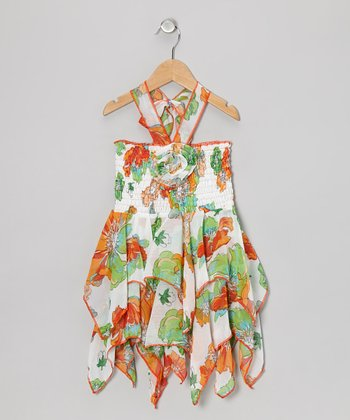 Green & Orange Floral Chiffon Handkerchief Dress - Toddler & Girls