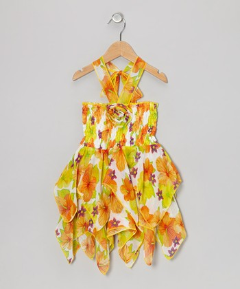 Yellow & Purple Floral Chiffon Handkerchief Dress - Toddler & Girls