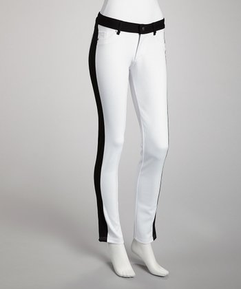 Black & White Reversible Two-Tone Jeggings - Women