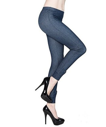 Denim Blue Ankle Detail Jeggings - Women
