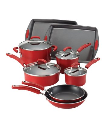 Red 12-Piece Cookware Set