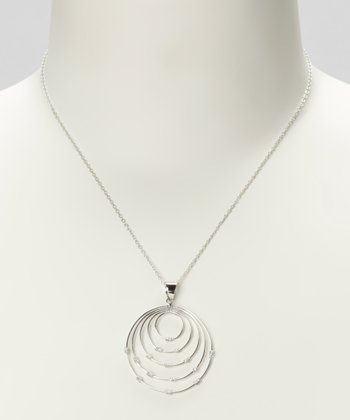 Sterling Silver Graduated Circle Pendant Necklace