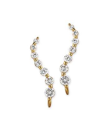 Cubic Zirconia & Gold Journey Ear Pin Earrings