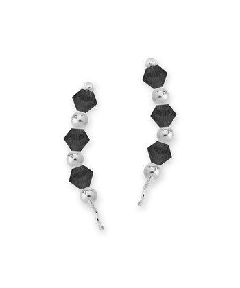 Sterling Silver & Jet Black Crystal Crescent Ear Pin Earrings